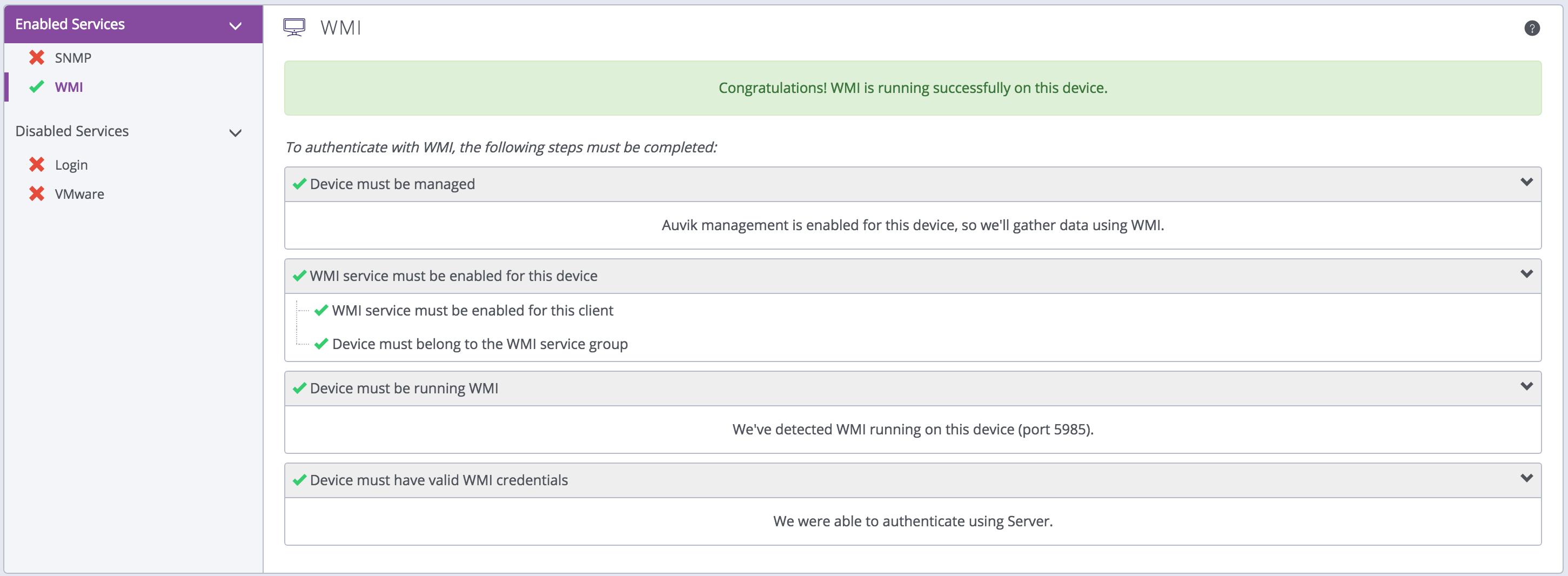 Troubleshooting WMI credentials – Auvik Support