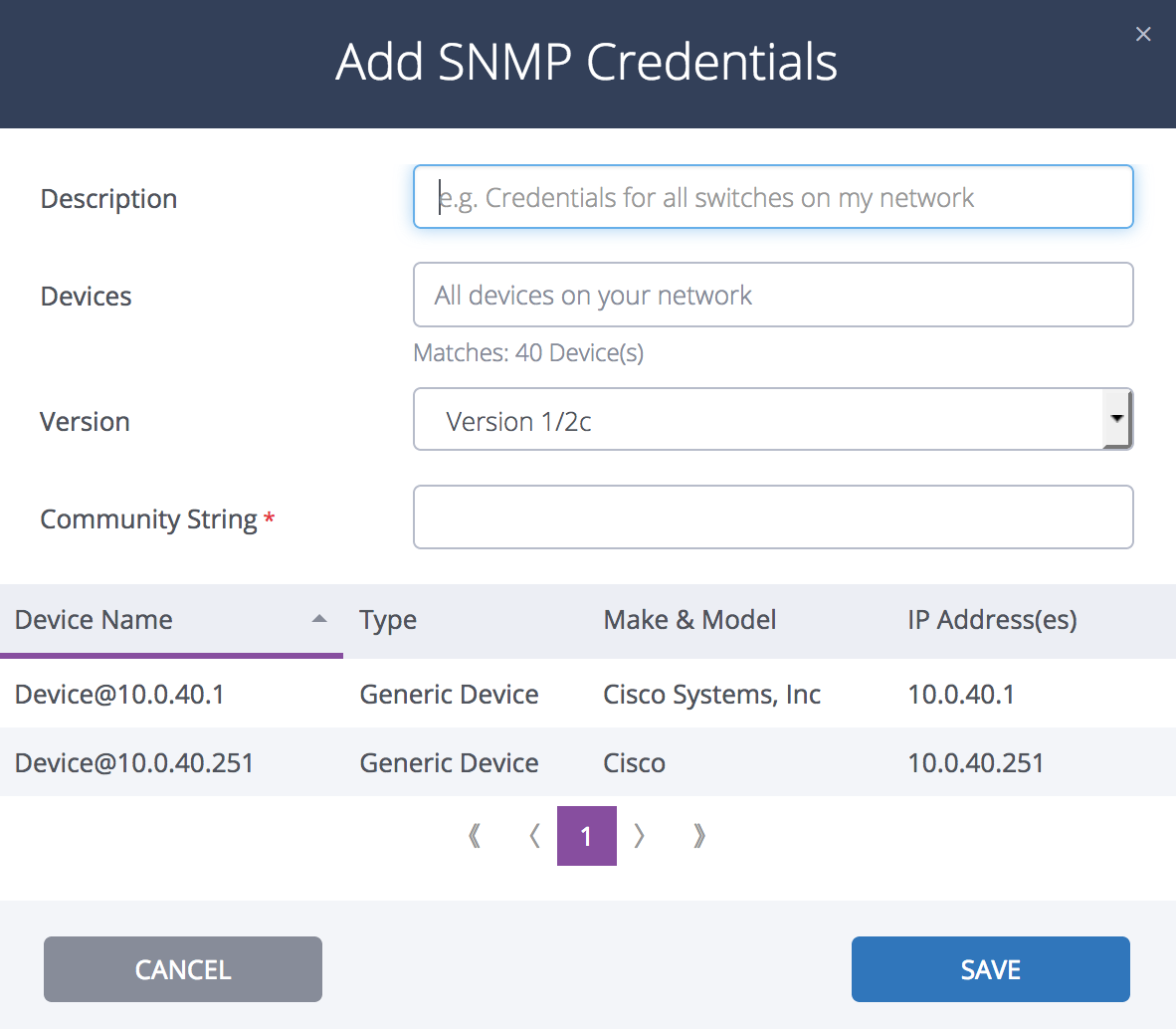 How do I add, edit, delete, or retry SNMP credentials